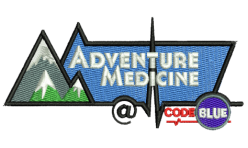 adventure medicine logo embroidered by Robin Archer Limerick