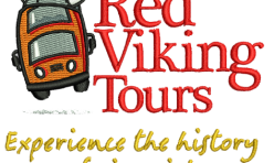 Red Viking Tours badge embroidered by Robin Archer Limerick