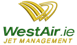 West Air Company Logo embroidered by Robin Archer